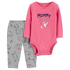 Baby Girl Carter's 'Mommy & Me' Dinosaur Bodysuit & Pants Set