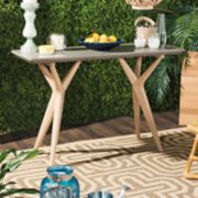 Safavieh Concrete & Wood Indoor / Outdoor Console Table