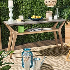 Safavieh Concrete & Wood Indoor / Outdoor Storage Console Table