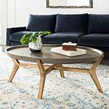 Safavieh Concrete & Wood Indoor / Outdoor Oval Coffee Table
