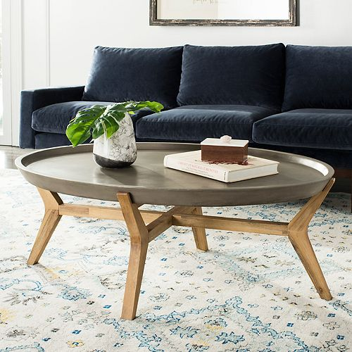 Safavieh Concrete Wood Indoor Outdoor Oval Coffee Table - Oval concrete coffee table