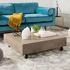 Safavieh Concrete Indoor / Outdoor Rolling Coffee Table