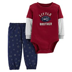 Baby Boy Carter's 'Little Brother' Football Bodysuit & Sports Pants Set