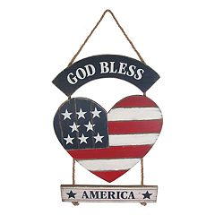 Celebrate Americana Together 'God Bless' Heart Wall Decor