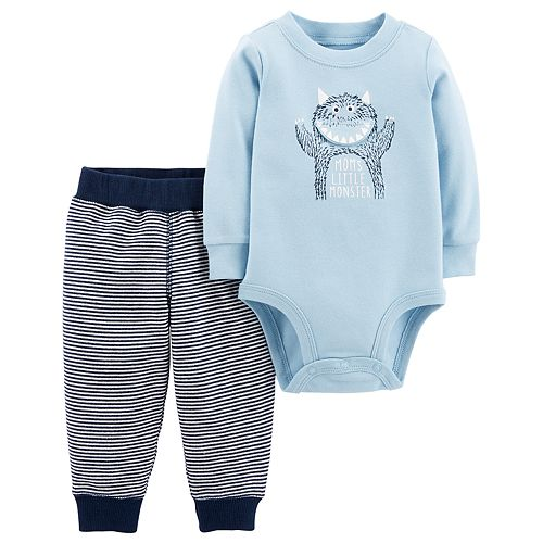 "Baby Boy Carter's ""Mom's Little Monster"" Bodysuit & Pants Set"