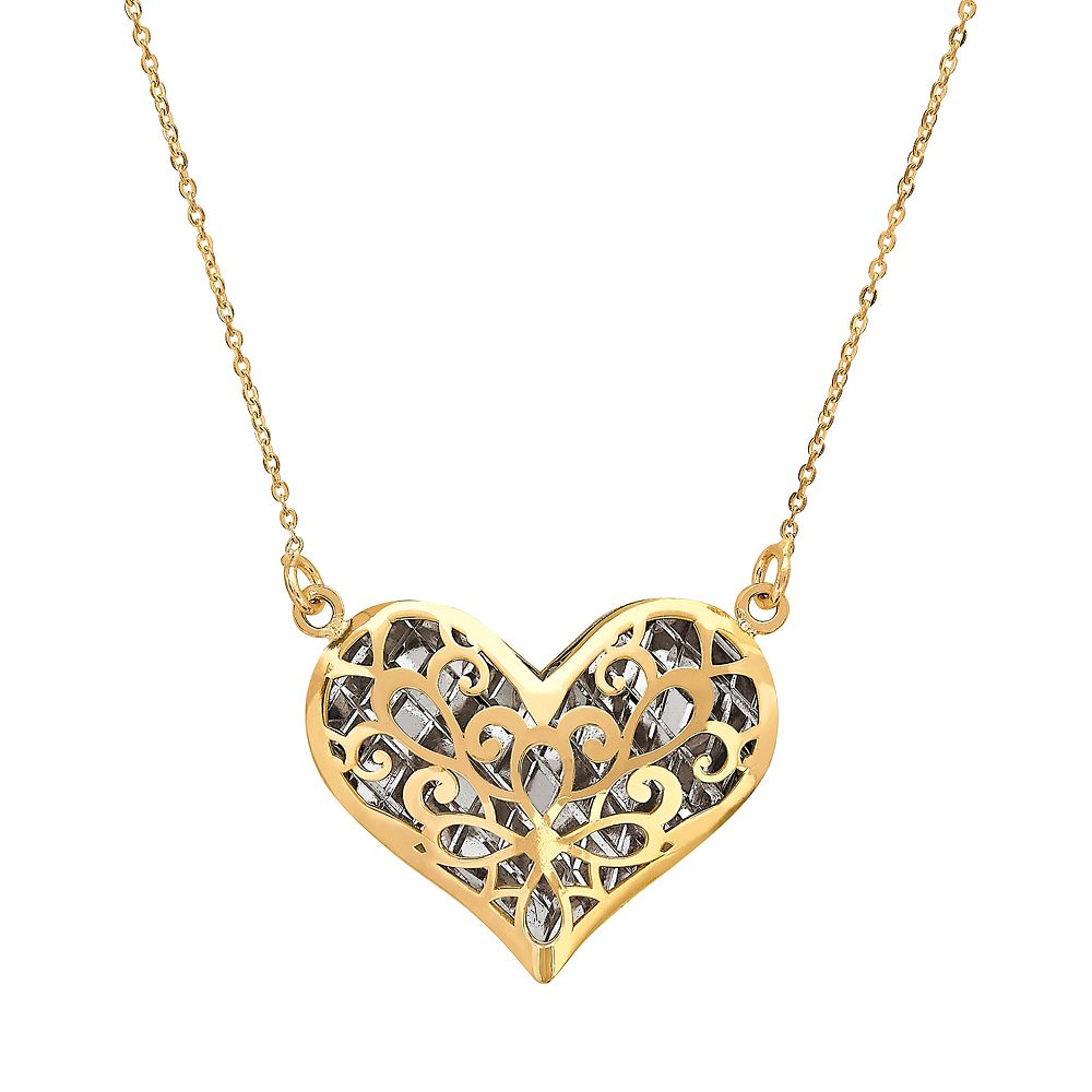 Gold two tone 14k gold filigree puffed heart pendant necklace everlasting gold two tone 14k gold filigree puffed heart pendant necklace mozeypictures Choice Image