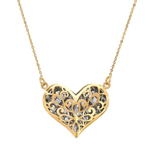 Everlasting Gold Two Tone 14k Gold Filigree Puffed Heart Pendant Necklace