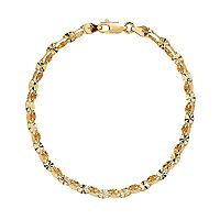 Everlasting Gold 14k Gold Double Row Mirror Link Bracelet