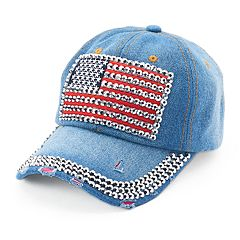 Women's Mudd® Bling American Flag Baseball Cap