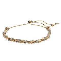 Everlasting Gold Tri-Tone 10k Gold Twist Chain Bolo Bracelet