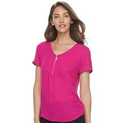 Women's Apt. 9® Lace Accent Zipper Top