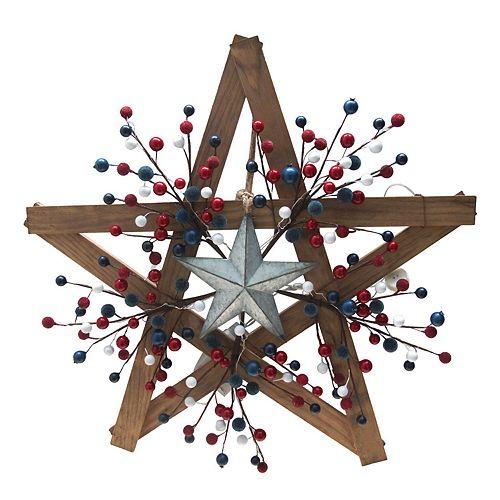 Celebrate Americana Together Pre Lit Wood Star Wall Decor