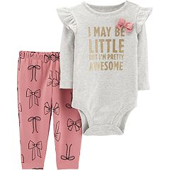 Baby Girl Carter's 'May Be Little But I'm Pretty Awesome' Ruffle Shoulder Bodysuit & Pants Set