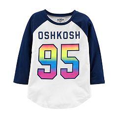 Girls 4 12 OshKosh BgoshR Raglan Logo Tee