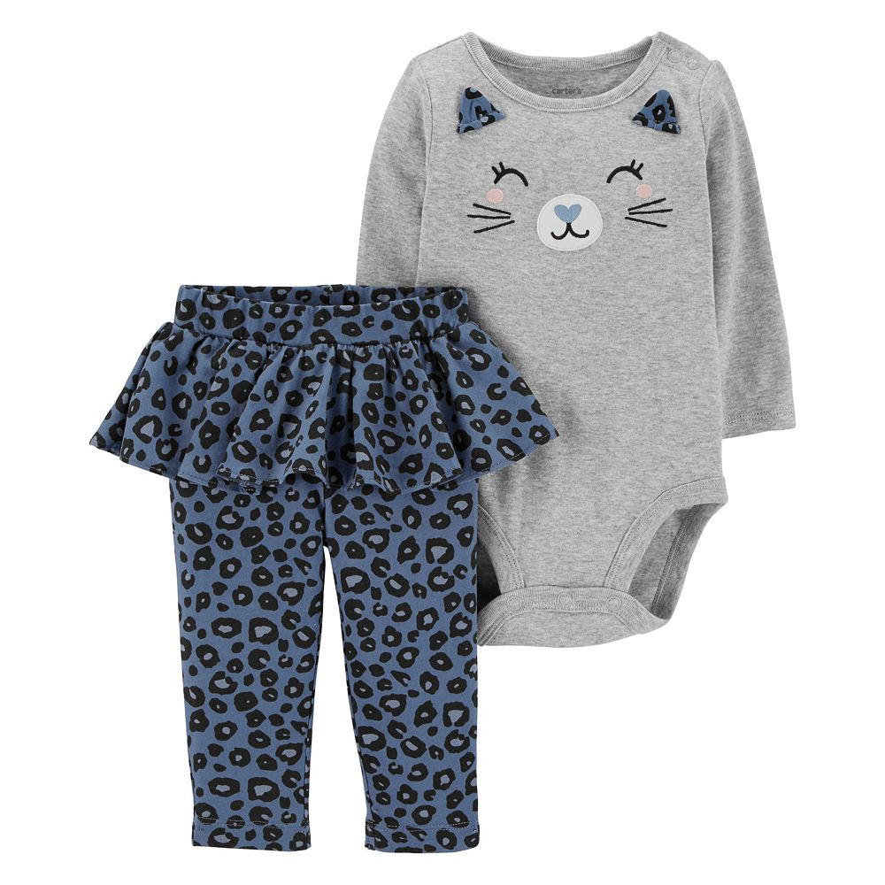 Baby Girl Carter's Cat Face Bodysuit & Animal Print Tutu Leggings Set