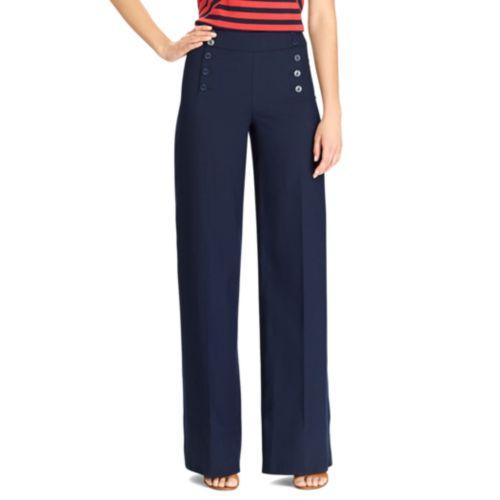 Button-Front Wide Leg Pants