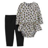 Baby Girl Carter's Animal Print Peplum Bodysuit & Pants Set
