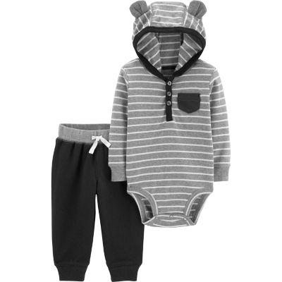 Baby Boy Carters Hooded Striped Bodysuit  Pants Set