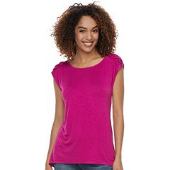Women's Apt. 9® Lace-Up Crewneck Tee
