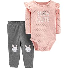Baby Girl Carter's 'Snow Cute' Polka-Dot Bodysuit & Embroidered Bunny Pants Set