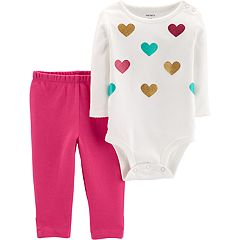 Baby Girl Carter's Glittery Heart Bodysuit & Leggings Set
