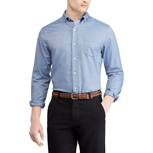Big & Tall Chaps Regular-Fit Dobby Easy-Care Stretch Button-Down Shirt