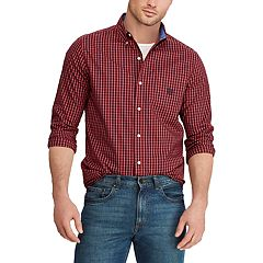 Big & Tall Chaps Regular-Fit Plaid Easy-Care Stretch Button-Down Shirt