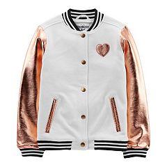 Girls 4-12 OshKosh B'gosh® Metallic Heart Bomber Jacket
