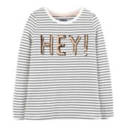 "Girls 4-12 OshKosh B'gosh® Striped ""Hey!"" Sequined Tee"