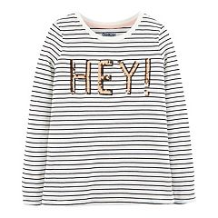 Girls 4-12 OshKosh B'gosh® Striped 'Hey!' Sequined Tee