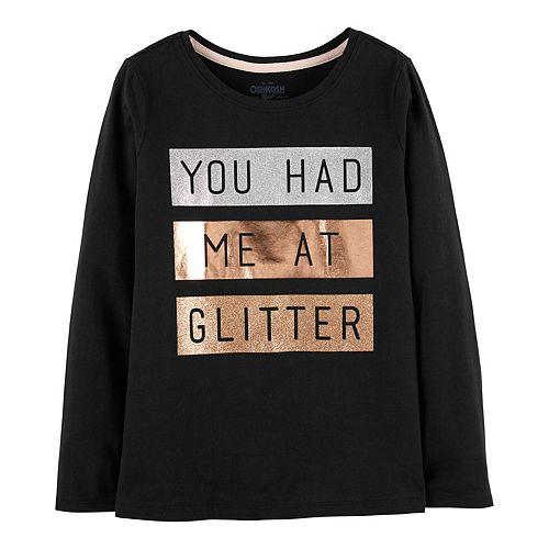 "Girls 4-12 OshKosh B'gosh® ""You Had Me At Glitter"" Embellished Graphic Tee"
