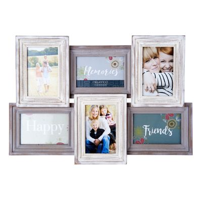 "Melannco Distressed 6-Opening 4"" x 6"" Collage Frame"