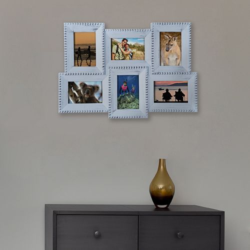 """Melannco Distressed 6-Opening 4"""" x 6"""" Collage Frame"""