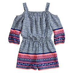 Girls 7-16 My Michelle Printed Cold Shoulder Romper