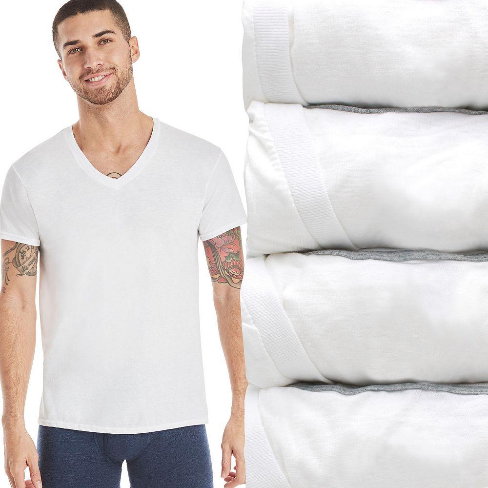Men's Hanes Ultimate® 4-pack ComfortFlex V-Neck Tees