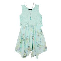 Girls 7-16 IZ Amy Byer High Neck Trapeze Dress with Necklace