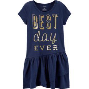 "Toddler Girl Carter's ""Best Day Ever"" Ruffle Dress"