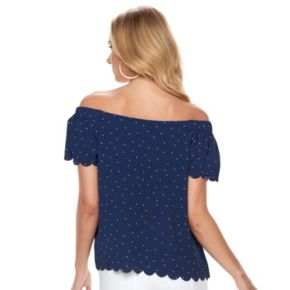 Women's ELLE Print Scallop Off-theShoulder Top
