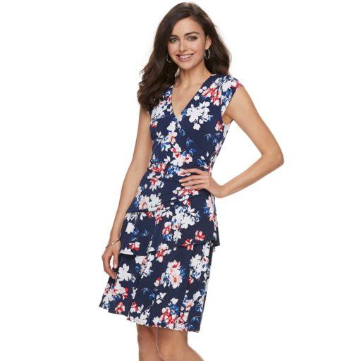 Women's ELLE™ Print Ruffle Faux-Wrap Dress