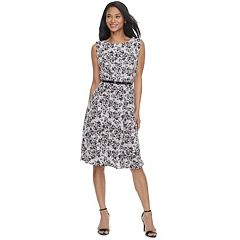 Women's ELLE™ Print Scallop Trim A-Line Dress