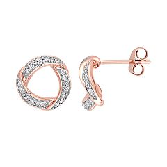 10k Rose Gold 1/5 Carat T.W. Diamond Circle Stud Earrings