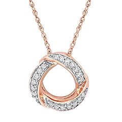 10k Rose Gold 1/10 Carat T.W. Diamond Circle Pendant Necklace