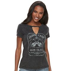 Women's Rock & Republic® 'Johnny Cash Man in Black'  Choker Neck Tee