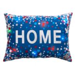 Americana ''Home'' Foil Stars Light-Up Oblong Throw Pillow