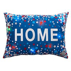 Americana ''Home'' Foil Stars Light-Up Oblong Throw Pillow