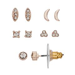 LC Lauren Conrad Nickel Free Simulated Crystal Gold Tone Earring Set