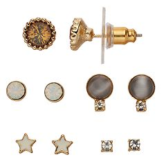 LC Lauren Conrad Nickel Free Simulated Crystal Stud Earring Set