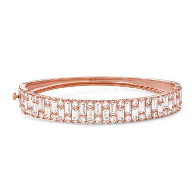 14k Rose Gold Over Silver Cubic Zirconia Bangle Bracelet
