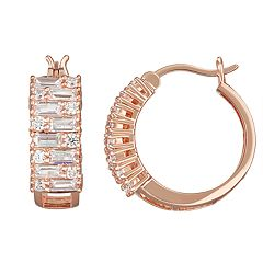 14k Rose Gold Over Silver Cubic Zirconia Hoop Earrings