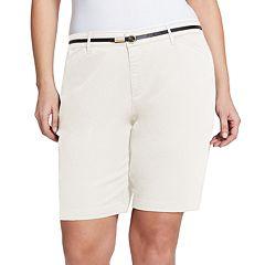 Plus Size Gloria Vanderbilt Anita Belted Twill Bermuda Shorts